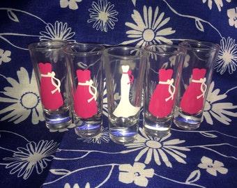 Bachelorette party shot glasses, bachelorette shot glasses.