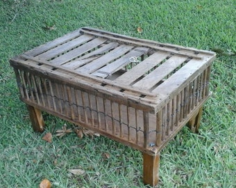 Reduced  Antique Chicken Crate Carrier Coop Primitive Coffee Table As Seen on Pinterest.Has Plexiglass top.Great Also for Storag.Top Opens