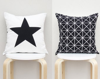 Double Sided Pillow cover , Big star pillow Case, Black Geometric Pillow Case 16X16