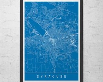 SYRACUSE MAP PRINT - Modern City Print Art - Customizable City Map Home Decor Modern City Art Print Giclee Ribba Syracuse N.Y. Map