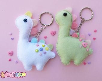 Dino Green and Dino Rainbow Keychain