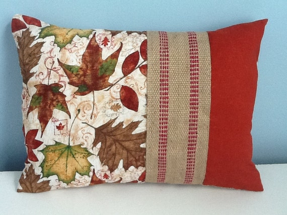 Fall pillow cover. Autumn leaves on rustic 12x16 lumbar