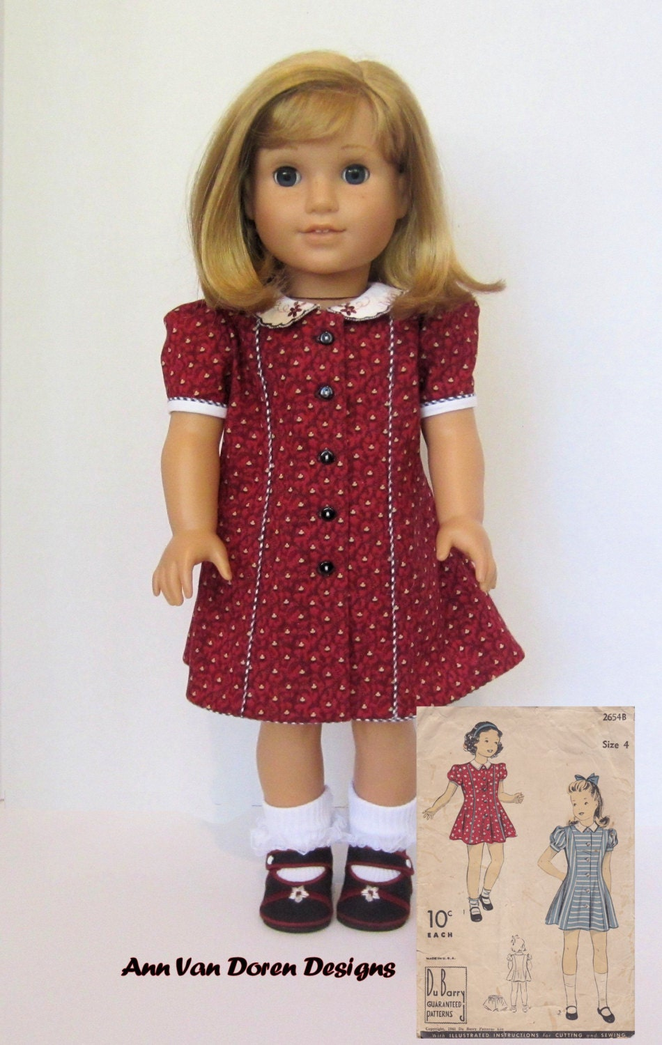 Forties Style Doll Dress Pattern For 18 Quot Ag Dolls From