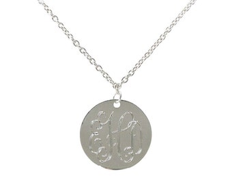 Monogram Necklace/ Personalized Jewelry/ Monogram Silver Disc Necklace