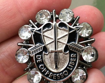 Customized Rhinestone Embellished Military Crest Pin Brooch-Multiple Designs Available