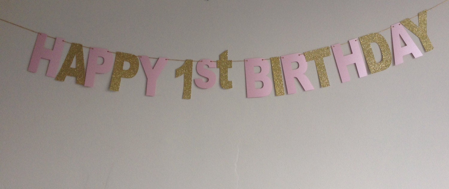 pink and gold happy 1st birthday banner shimmer pink by cardoodle