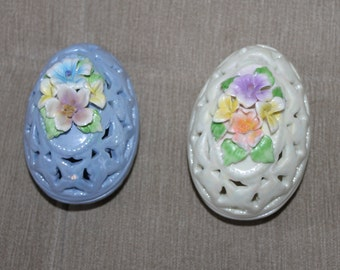 Pair of Porcelain, Ceramic, Glazed, Easter Eggs, Vintage Candy Dish, Collectible, Holes Like an Easter Basket, Home Decoration - Collectible