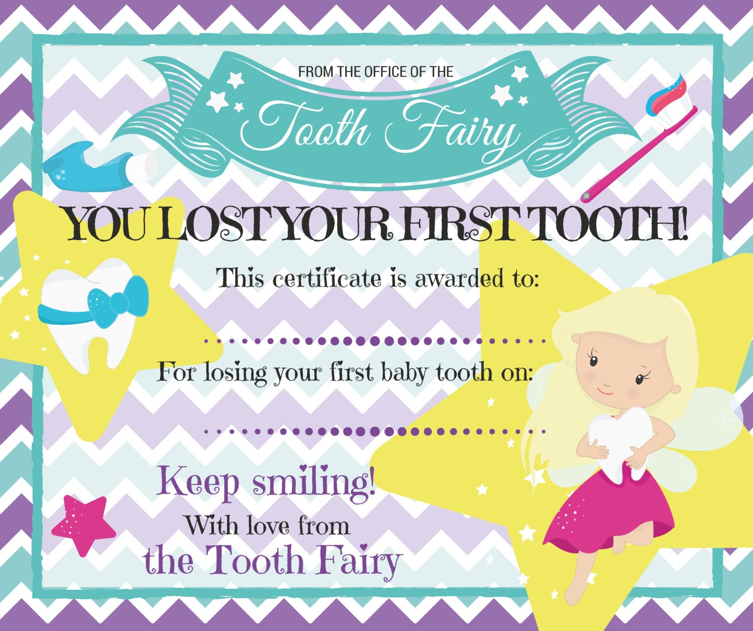 Nerdy image pertaining to free printable tooth fairy certificate