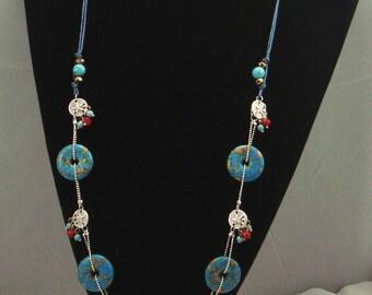 Free shipping,blue turquoise long necklace,vintage,bangle,personalized,wholesale(XL50)