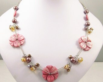 Free shipping,pink flower shell necklace,crystal,vintage,bangle,personalized,wholesale(XL52)