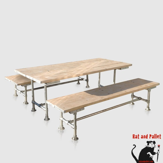 Dining Table And Two Wide Benches For Sale In By RatAndPallet