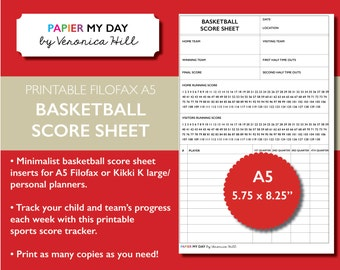 Printable A5 Filofax Basketball Score Sheet - Basketball Score Sheets for Filofax and Kikki K planners