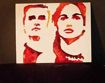 The Hunger Games Characters peeta and katniss crayon art original art
