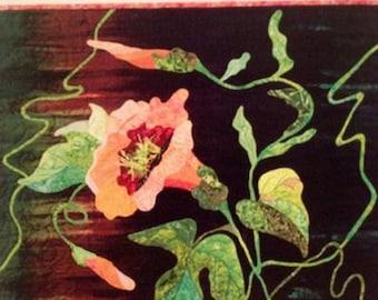 Art Quilt Pattern CORAL VINE FLOWER by Grace Errea