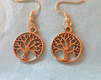 gold tree of life 90's charm earrings