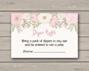 Pink Floral Baby Shower Diaper Raffle Tickets, Pink Flowers Baby Shower Diaper Raffle Insert Card, Instant Download PDF Printable