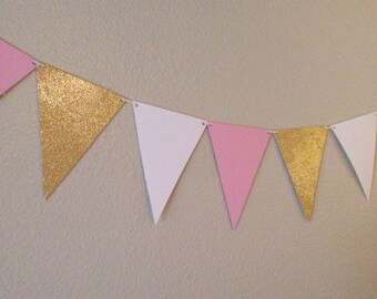 Pink,Gold & White Banner | 12 pennants | Triangle Banner | Pink Banner | Gold Banner | Babyshower | Bridal Shower | First Birthday