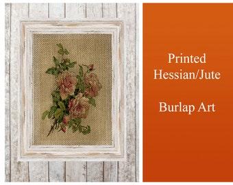 Rose Flower Vintage  - Print Poster Jute Burlap Hessian Fabric wall Art Home Decor