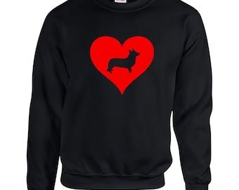 Love Heart Corgi Sweatshirt .Crewneck Sweatshirt. Dog Breed Sweatshirts. Love Heart SweatShirt.