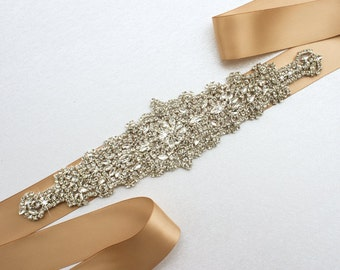 Bridal belt champagne Wedding dress sash Crystal Rhinestone sash Sparkle belt Wedding sash Bridal Sash Wedding Belt Sash