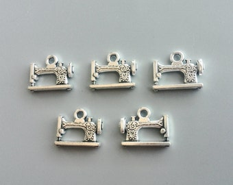 5/10/20 Pcs Sewing Machine Charms Metal Pendants Antiqued Silver Tone Double Sided Sewing Machine 18*14mm 242