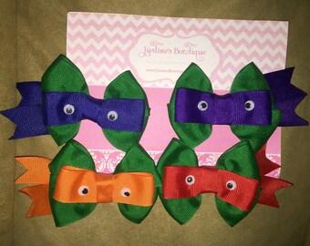 Set of 4 Ninja Turtles hair bows