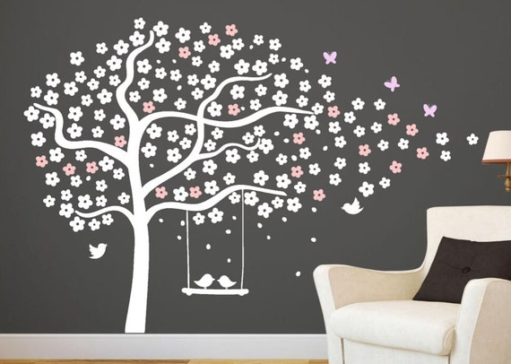 arbre mural stickers p pini re cerise au pochoir arbre blanc. Black Bedroom Furniture Sets. Home Design Ideas