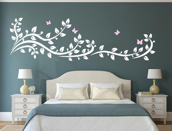 Arbre mural stickers arbre branche stickers arbre mur pochoirs - Stencil parete camera da letto ...