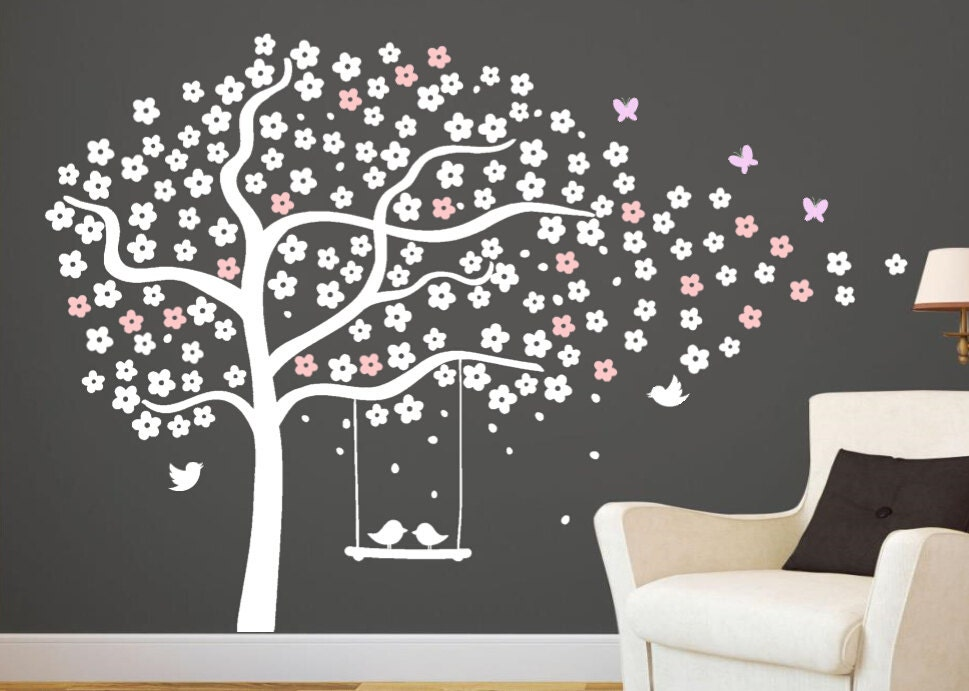 Arbre mural stickers p pini re cerise au pochoir arbre blanc for Pochoir mural geant
