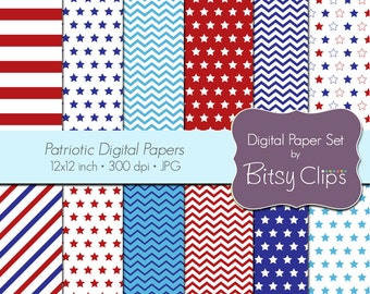 Patriotic Digital Paper Set Commercial Use Clip Art INSTANT DOWNLOAD Chevron Scrapbook Paper Red White Blue Stars Independence Day
