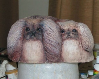 Pekingese Dog Sculpture by Hevener