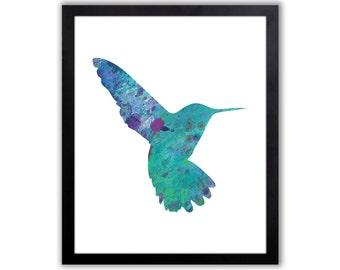Bird Art For The Home, Hummingbird Watercolor Print, Wildlife Decor - BI005