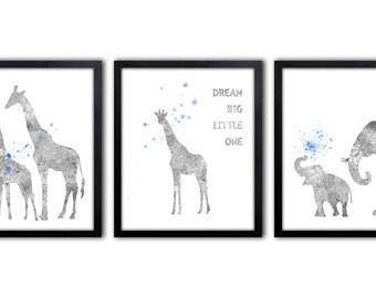 Baby Boy Elephant Nursery Art, Giraffe Nursery Decor, Nursery Quote, Set of Three - AS40