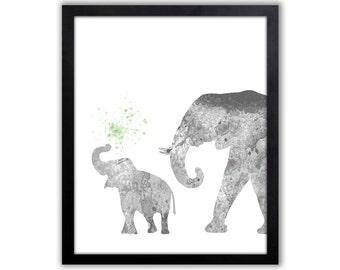 Elephant Art Print For The Home, Elephant Watercolor Fine Art Print