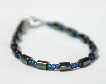 Unisex Non-Magnetic Hematite Bracelet with Blue Japanese Glass Seed Beads SPB009
