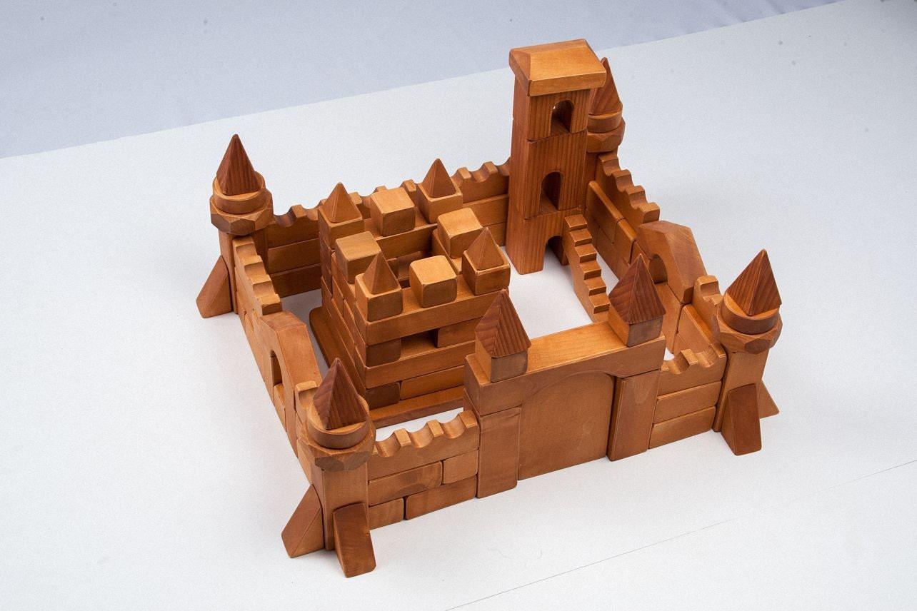 Wood block set learning blocks toys square
