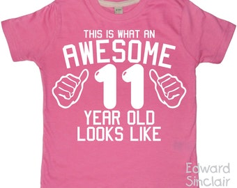 This is what an awesome 11-year old looks like. Girls 11th Birthday T-shirt with White Glitter Print
