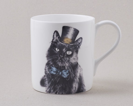 Cat Mug. Cat In A Top Hat Bow Tie And Monocle: Fine Bone