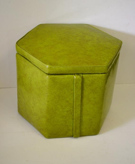 Vintage vinyl foot stool storage hassock coffee table mid for Small storage hassocks