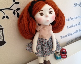 Stephanie , Paperclay Art Doll in Handmade