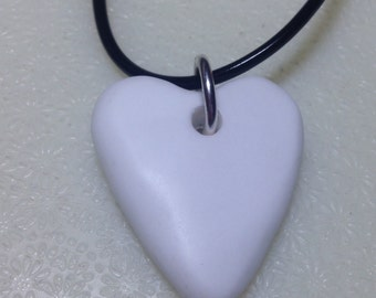Milk Glass Jewelry,    Heart Necklace,    Free Shipping