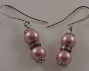 Rose Swarovski Crystal Pearl Earrings Valentine Jewelry Gift Silver Plated Ear Wire