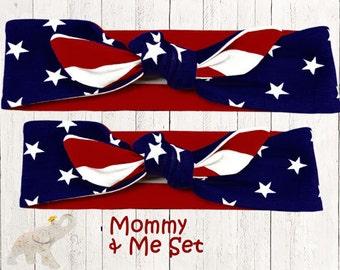 Mommy & Me Set    Top Knot Headband    Reversable Top Knot    Knotted Headband - Stars and Stripes Reversable Cotton Knit