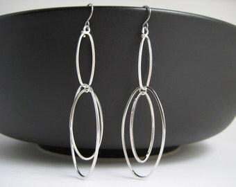 Multiple Hoop Earrings - silver oval chain link, dangle hoop earrings, simple statement office jewelry
