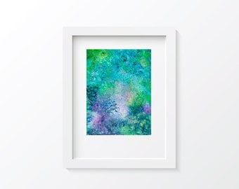Original 9 by 12 Abstract Blue Multicolor Mixed Media Painting, Blue, Aqua, Pink, Mint, Teal, and White, Intricate and Colorful