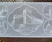 """Tower Bridge & Scenes of London. Lace Pictorial Souvenir of London, England 17""""x34"""" (43x86cm) approx. London in Lace. 100% Polyester"""