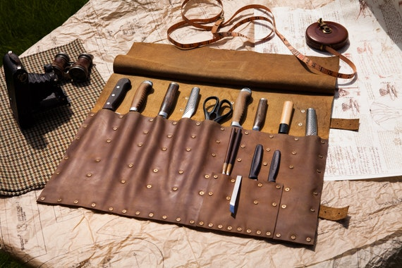 tan brown leather chef 39 s knife roll by tsprinceandco on etsy. Black Bedroom Furniture Sets. Home Design Ideas
