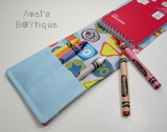 Notebook Crayon Wallet - Road Signs Notepad Wallet - Crayon Holder