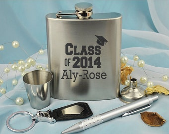 Laser Engrave Graduation Flask Gift Set