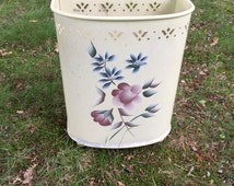 1940's Tin Hand Painted Tole Detecto Wastebasket